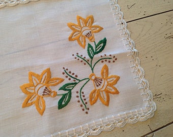 40s Czech White Linen Placemat Candlemat Embroidery NOS