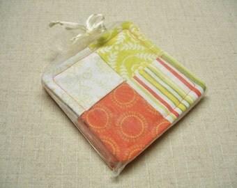 SALE - Folded Fabric Coasters, Tropical Colors, Orange & Green, Set of 4, Reversible, Candle Mat, Pad, Hot Pad, Mug Rug