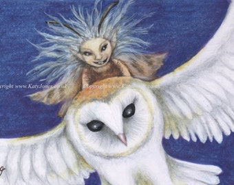 Fairy and Barn Owl - Limited Edition ACEO print, 2 1/2 x 3 1/2 inches - Owl Rider