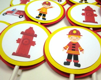 Fireman Cupcake Toppers