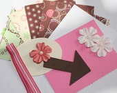 Little Girl Mini Kit, Great for Scrapbook Albums, Cards, Project Life Pages, 3x4 Pink White Green