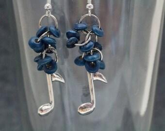 Beaded Dangle Earrings / Blue Wood Music Note Jewelry / Simple Fun Lightweight Silver Earrings by randomcreative on Etsy