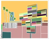 ULTRA DEAD MALL | giclee print | flat graphic signs | Los Angles summer colors | by Richard Kaponas