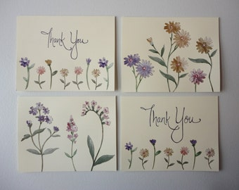 Pastel Garden, Set of 4 Note Cards, Original Hand Cut Vintage Wallpaper, OOAK, Handmade, Applique Flowers, Purple Blue Pink, Thank You