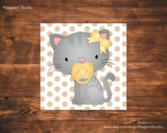 INSTANT PRINTABLE Cat and Kitten Grey Tabby Nursery Art (12x12)