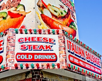 Cheese Steak Carnival Food Vendor Fine Art Print- Carnival Art, County Fair, Nursery Decor, Home Decor, Children, Baby, Kids