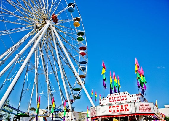 Ferris Wheel Carnival Scene Fine Art Print- Carnival Art, County Fair, Nursery Decor, Home Decor, Children, Baby, Kids