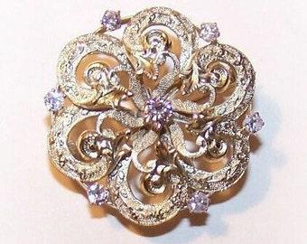 Antique Victorian 14K Gold & .46 CT TW Diamond Starburst Pin by Krementz