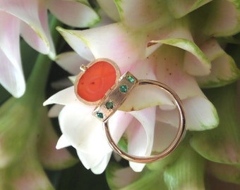 Heart of Water Poison Ring in 14k Yellow Gold with Natural, Handcarved Carnelian Scarab and Emeralds, OOAK, Ready to Ship