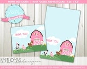 INSTANT DOWNLOAD - Barnyard Girl: Farm Animal Thank You Cards - Flat & Folded Cards - Item 115