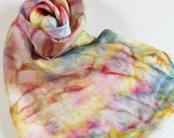 Silk Infinity Scarf - Hand Painted Circle Scarves Rainbow Yellow Pink Blue Orange Purple Navy Hand Dyed