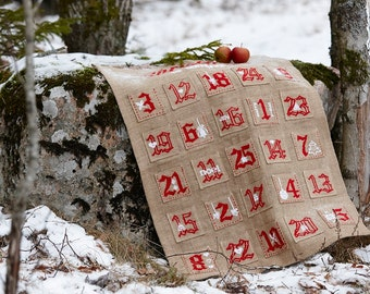 Needlepoint pattern ADVENT CALENDAR - cross stitch,scandinavian christmas,needlepoint,embroidery pattern,burlap,swedish,heirloom,diy,red