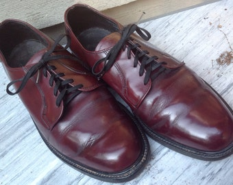 60s OXBLOOD OXFORDS WIDE Shoes by Hitchcock leather Size 10 1/2 Eee