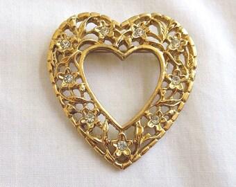 Vintage Clear Rhinestones Leaf and Heart Brooch