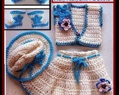 CROCHET PATTERN, Baby cowgirl skirt, hat, vest, booties - 4 piece set - newborn to 12 months, Crochet Patterns for kids, babies, #550-SHBV