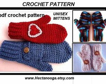 CROCHET PATTERN MITTENS, pattern no 89...  Great Looking mittens to crochet..Instant digital download