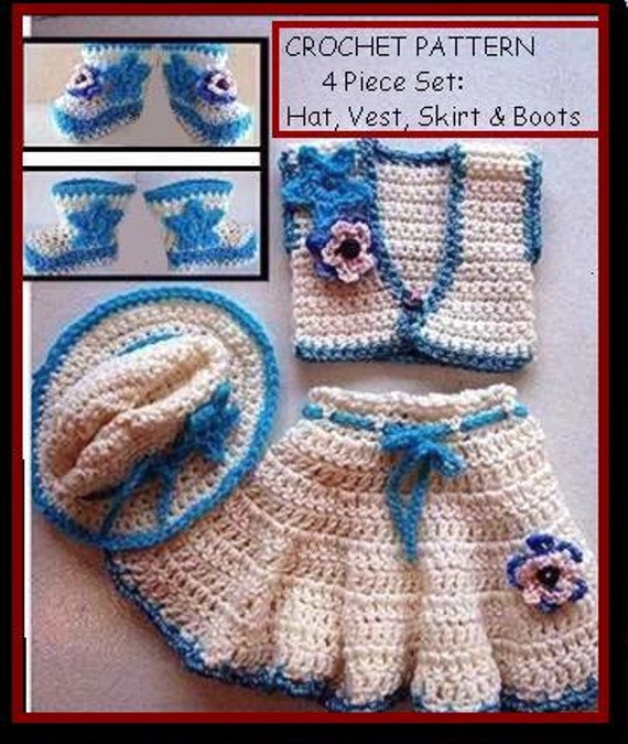 Free Crochet Pattern For Cowgirl Skirt : CROCHET PATTERN Baby cowgirl skirt hat vest booties 4