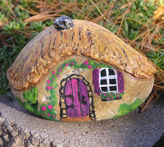 Miniature stone cottage hand painted rock fairy house charity for Spray paint rocks for garden