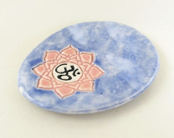 Lotus OM Spoon Rest Collectible Porcelain Sky Blue and Pink Mini Ceramic Dish Miniature Trinket Plate