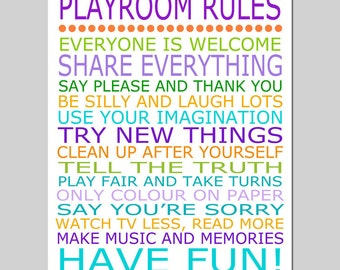 Playroom Rules - 8x10 Quote Print - Modern Nursery Childrens Decor - Kids Wall Art - Nursery Decor - Nursery Wall Art - CHOOSE YOUR COLORS