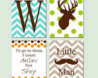 Baby Boy Nursery Art - Chevron Initial, Polka Dot Deer, To Go To Sleep I Count Antlers Not Sheep, Little Man Mustache - Four 8x10 Prints