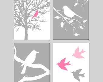 Modern Bird Quad - Set of Four 8x10 Prints - Kids Wall Art For Nursery - Choose Your Colors - Shown in Gray, Pink, Yellow, Blue, and More