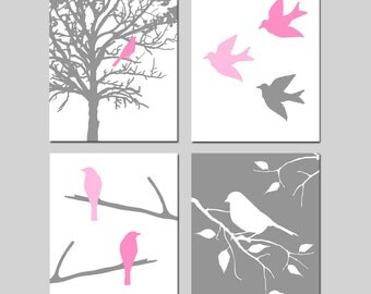 Modern Bird Wall Art Quad - Set of Four 11x14 Coordinating Prints - CHOOSE YOUR COLORS - Shown in Yellow, Gray, Pink and More - Nursery Art