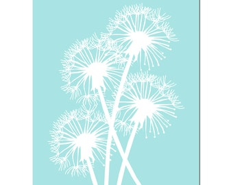 Dandelion Group - 8x10 Floral Print - Choose Your Colors - Shown in Pale Aqua, Red Orange and More