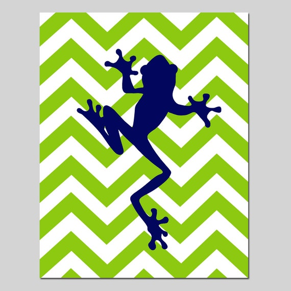 Chevron Frog Silhouette Nursery Art Print - 11x14 - Kids Wall Art - Reptile Jungle - CHOOSE YOUR COLORS