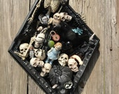 Halloween art, creepy halloween art, Original altered art, Skeleton art,  Shadow box art,  black crow art