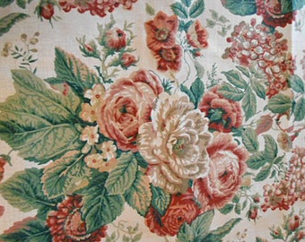 LADIES DAY Rose Hydrangea FABRIC Rosebuds Morning Glories, Mauve Ecru Brick Red Blooms on Cream Waverly Cotton, Pillows Napkins 1.75 Yd
