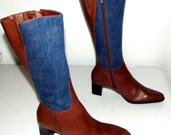 Denim and tan leather tall fashion boots - womens - size 6 M