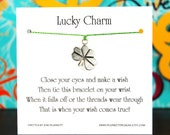 Lucky Charm - Wish Bracelet With Silver Clover Charm - Shown In The Color HERBS  - Over 100 Different Colors Are Also Available
