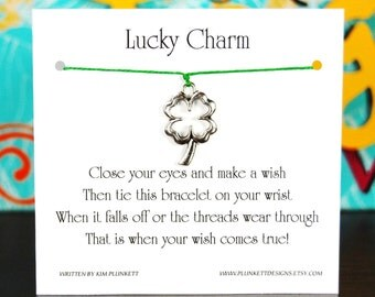 Lucky Charm - Wish Bracelet With Open Four Leaf Clover Charm - Shown In The Color SHAMROCK  - Over 100 Different Colors Are Also Available