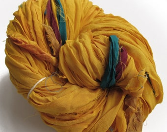 Recycled Sari Silk Ribbons, Reclaimed, Fair Trade, yellow, Skein no. 298, 78 yds.