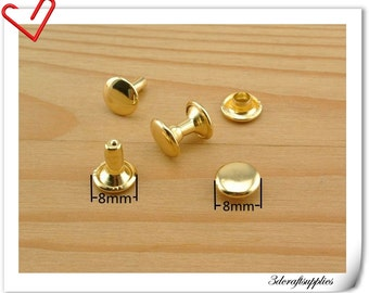 8mm gold rivet , rivet stud,metal rivet, double cap rivet, copper rivet  30 sets   H8