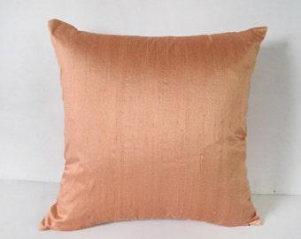 peach  dupioni silk pillow cover 20 inch throw pillow cover  decorative throw cushion  cover. custom made