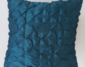 teal blue ruched pintuck  pillow. decorative throw cushion covers. 18 inch pillow. custom made