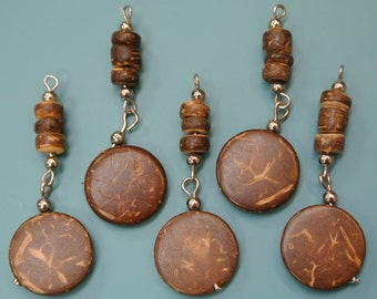Lot of 15 unusual vintage 1970s unused brown coconut wood bead charms/ pendants with metal loops for your beading prodjects