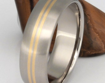 Gold Titanium Wedding Band, Man's Ring, Woman's Wedding Band, Handcrafted Ring, 18k Gold Inlay - g1