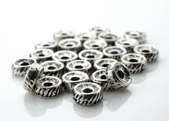 Base Metal Hollow Striped Spacer Beads