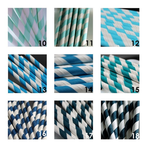 50 Striped Paper Straws for Celebrations Parties Retro Style Great Selection of 45 Colors to Pick From