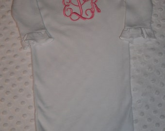 Monogrammed Baby Girl Gown with Ruffles