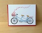 Tandem XO - tandem bike love card - valentine card