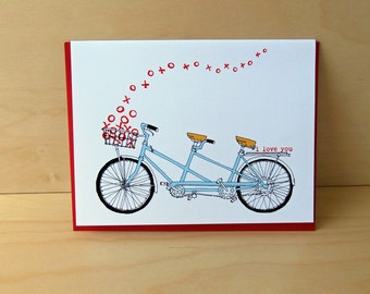 SALE Tandem XO - tandem bike love card - valentine card
