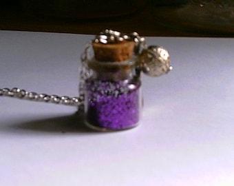 Handmade Glittery  Bottle Necklace Hot Pink