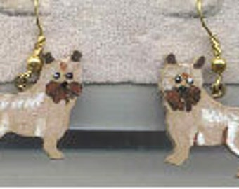Wooden CAIRN TERRIER  Handpainted Dog Breed Earrings
