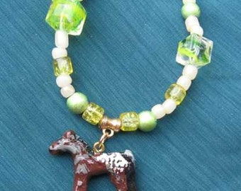 Markdown Sale...Sculpted Clay APPALOOSA BROWN Glass Beaded Necklace...CHOOSE Green or Purple