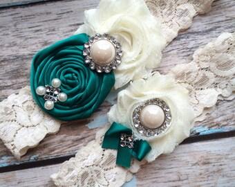 61 different colors /JADE Wedding garter / Garter SET / wedding garters / bridal  garter/  lace garter / vintage lace garter
