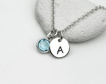 Initial and Birthstone Charm Necklace in Sterling Silver - Personalize necklace, Monogram necklace